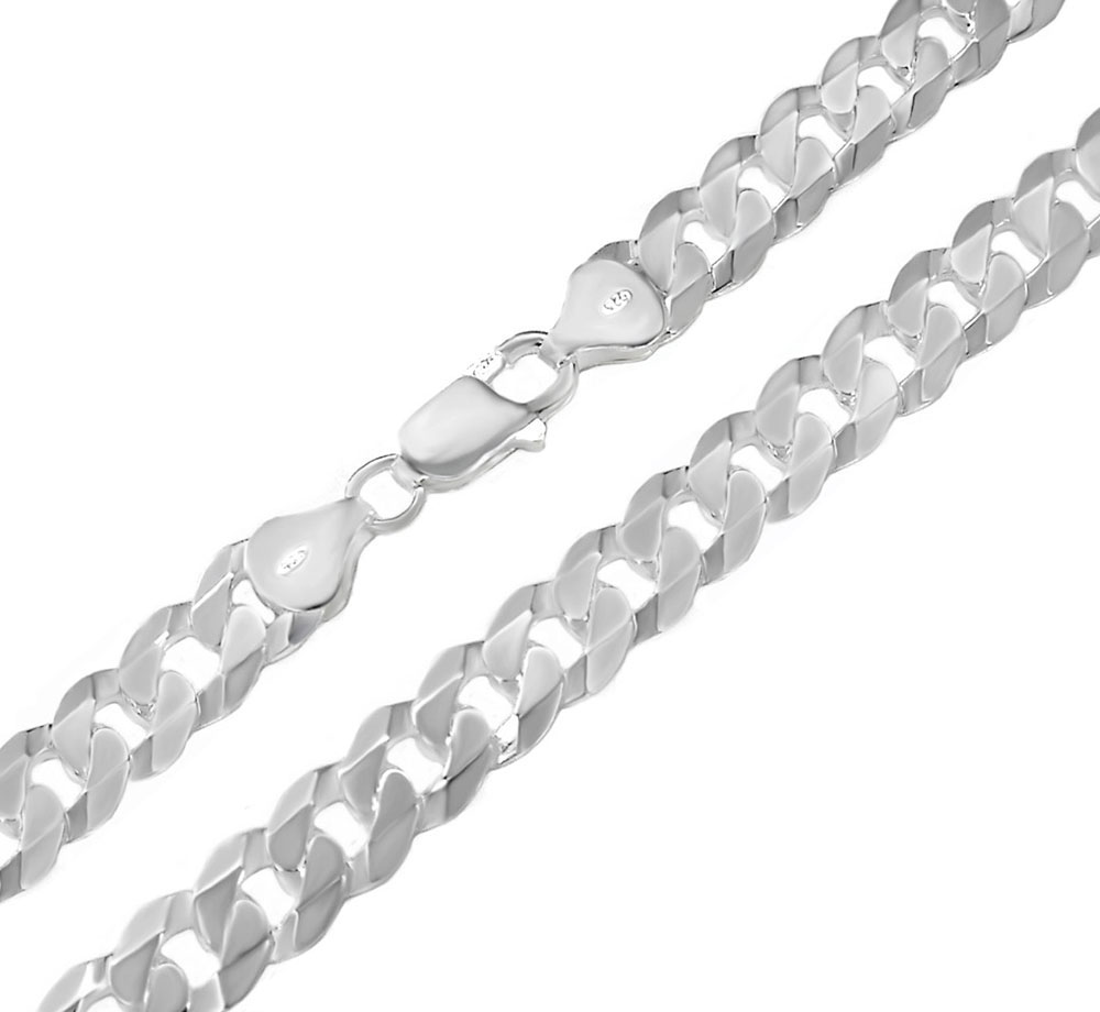 Italian Sterling Silver 7mm Flat Curb Chain