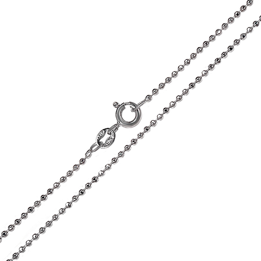 Italian Sterling Silver Bead 1.5mm D/C Rhodium Chain