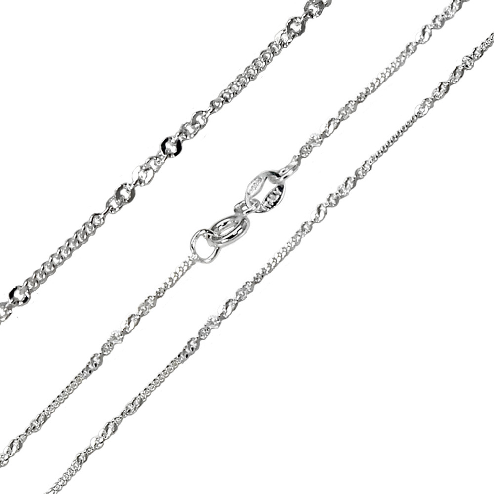 Sterling Silver D/C Curb & Rolo Brill 1mm Thin Chain