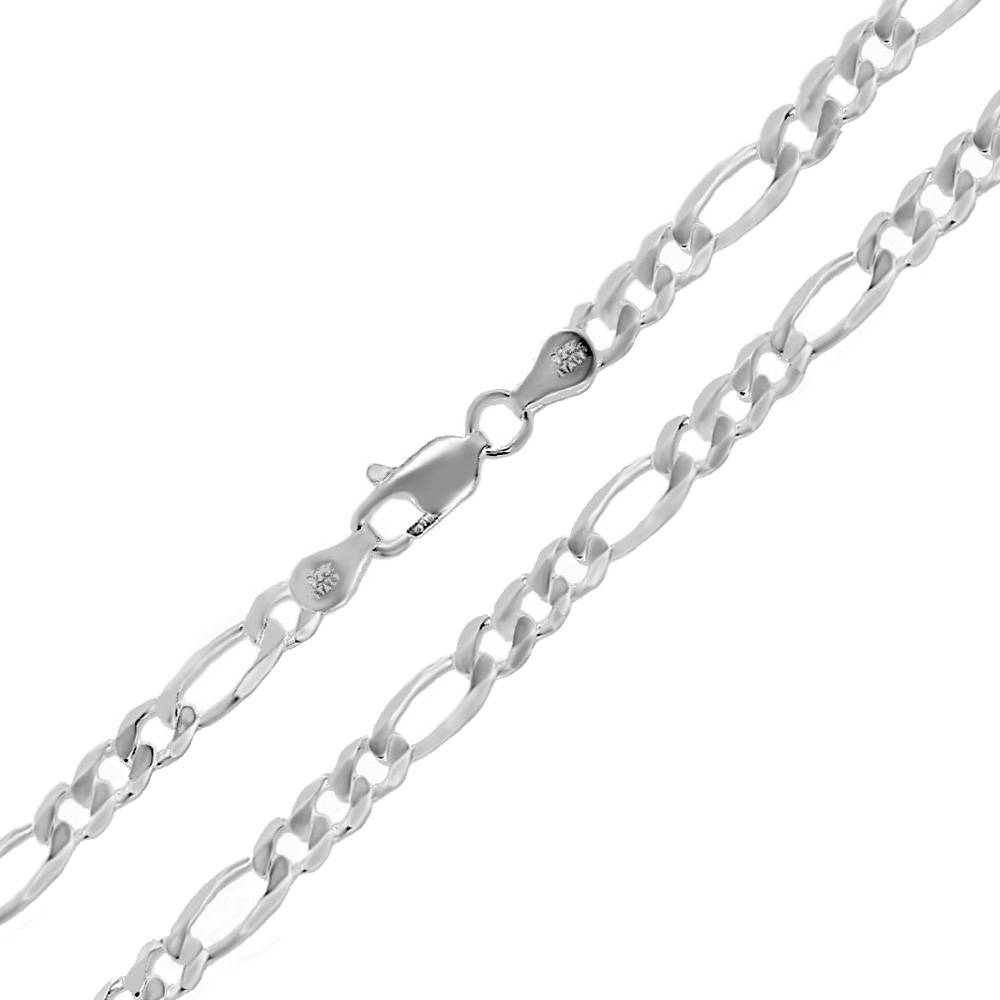 Italian Sterling Silver 5mm Figaro Chain