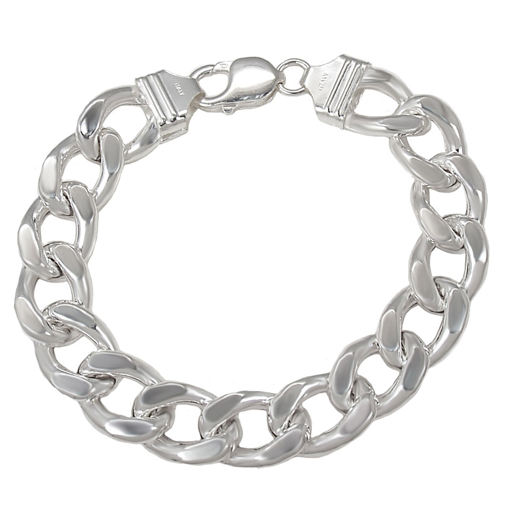 Italian Sterling Silver 13.5mm Hollow Curb Bracelet