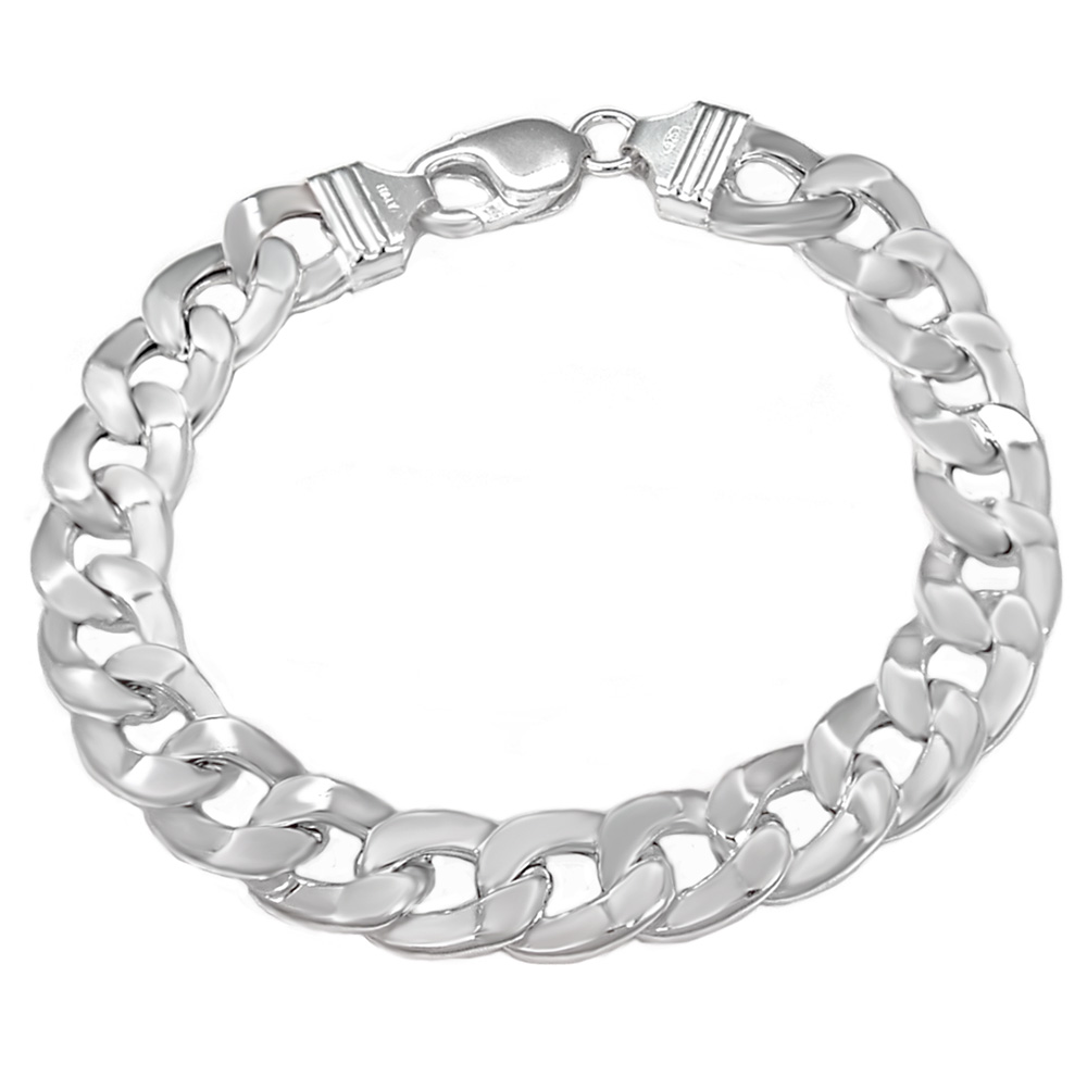 Italian Sterling Silver 12mm Hollow Flat Curb Bracelet