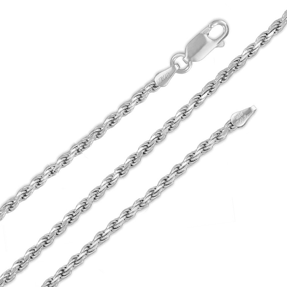 Sterling Silver 2.5MM D/C Rope Chain