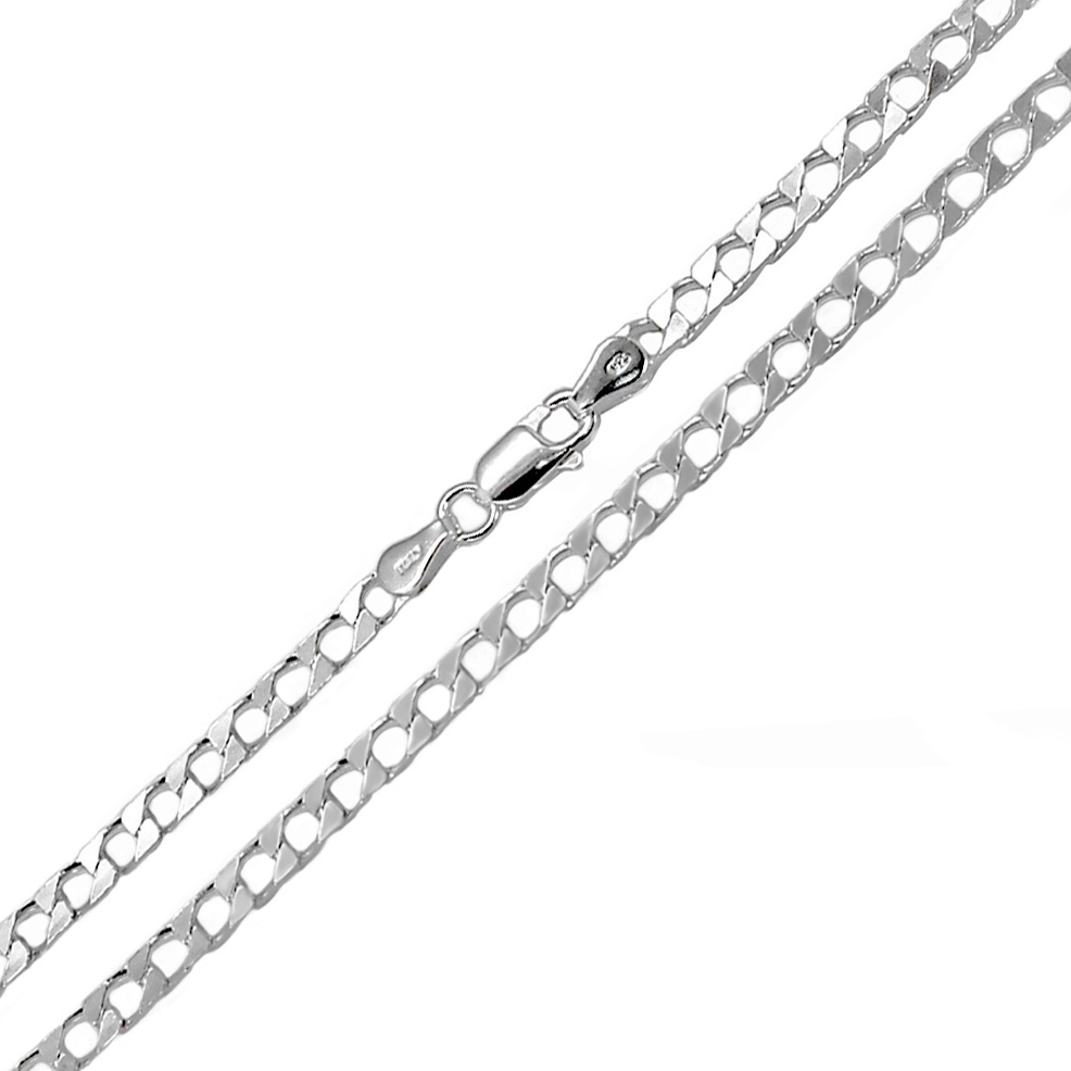 Italian Sterling Silver 3MM Square Curb 24'' Chain