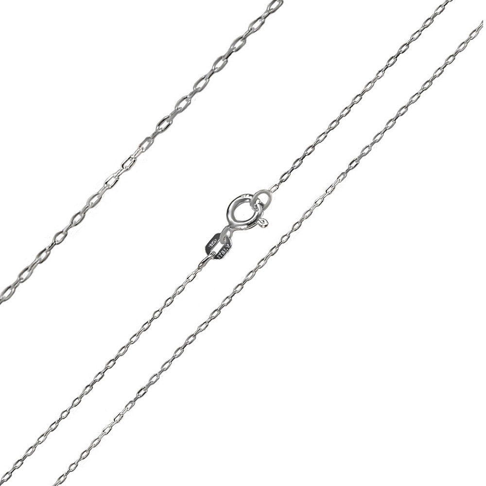 Italian Sterling Silver 0.8mm Cable Chain W. Rhodium