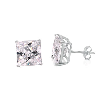 14K White Gold CZ Princes Prong-Set Stud Earrings