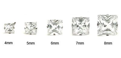 14K White Gold CZ Princess Stud Earrings