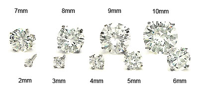 14K White Gold Round CZ Prong Set Earrings