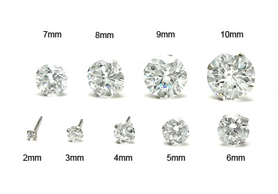 14K White Gold Round CZ Stud Earrings