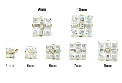 14K Yellow Gold Invisible Princess CZ Stud Earrings