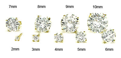 14K Yellow Gold Round CZ Prong Set Stud Earrings