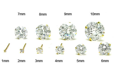 14K Yellow Gold Round CZ Earrings