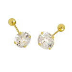14K Yellow Gold Ball Screw Backing Round CZ Stamping Stud Earrings
