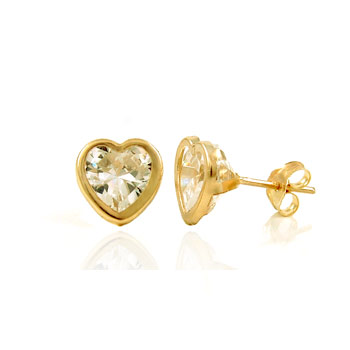 14K Yellow Gold Heart Bezel CZ Earrings