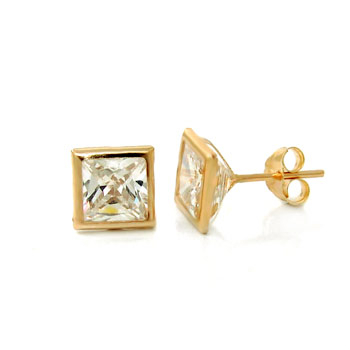 14K Yellow Gold CZ Princess Bezel Stud Earrings