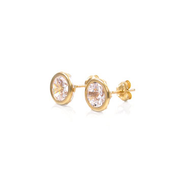 14K Yellow Gold Round Bezel CZ Earrings