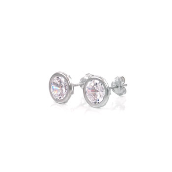 14K White Gold Round Bezel CZ Earrings