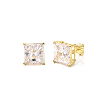 14K Yellow Gold Princess Invisible CZ Prong Set Earrings
