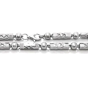 Hip Hop Sterling Silver Diamond-Cut 4mm Bullet Chain