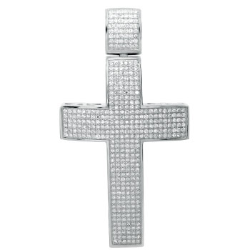 925 Silver Hip Hop Cross Pave Setting CZ Pendant