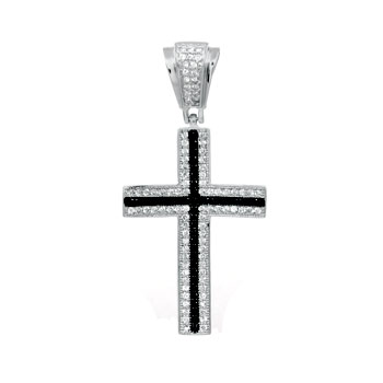 925 Silver Cross Micro Pave Black & Clear CZ Pendant