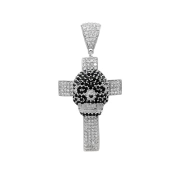 .925 Sterling Silver Cross-Skull Micro Pave Black & Clear CZ Pendant