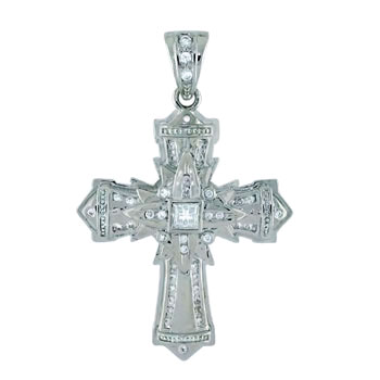 925 Silver Invisible Princess & Round CZ HIP HOP Cross Pendant