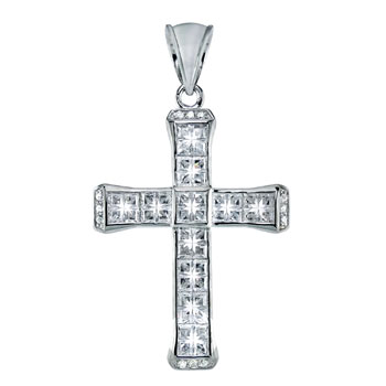 HIP HOP Pendant - Silver Invisible 4 Cut CZ Cross