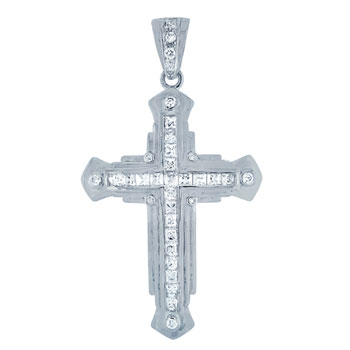 HIP HOP Pendant - Silver Princess & Round CZ Cross