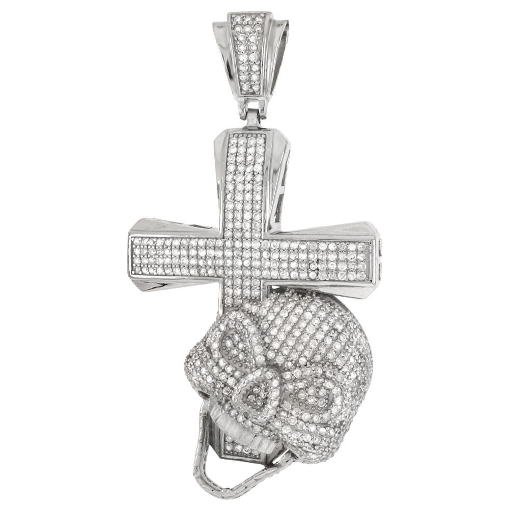 .925 Sterling Silver Cross & Skull Pave CZ Pendant