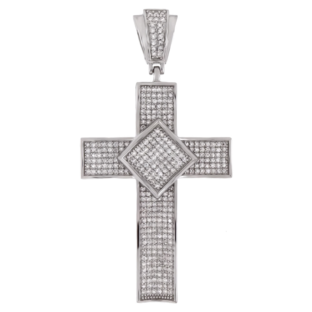 .925 Sterling Silver Cubic Zirconia Micro Pave CZ Cross Pendant