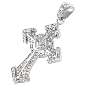 Sterling Silver Round CZ HIP HOP Cross Charm