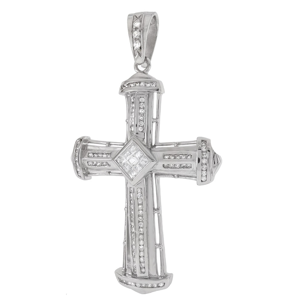 Sterling Silver CZ HIP HOP Cross Charm