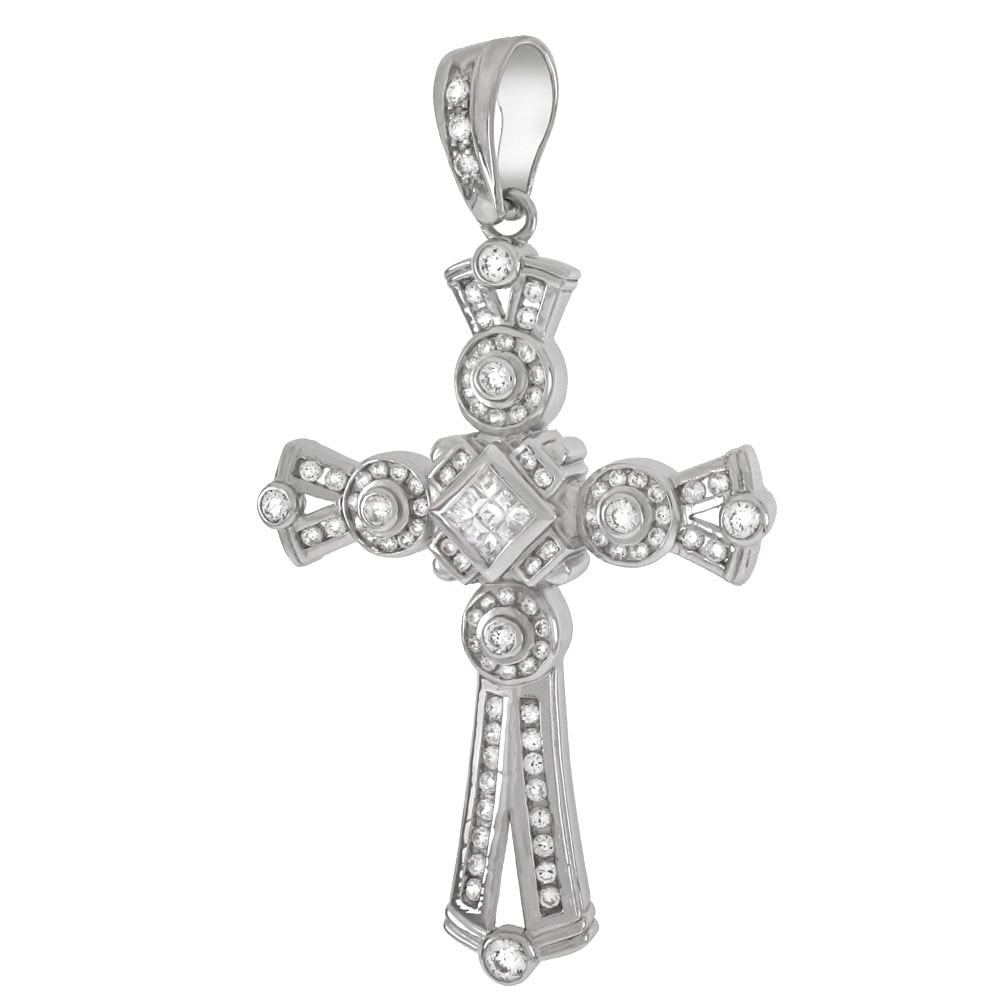 Sterling Silver Invisible Princess & Round CZ HIP HOP Cross Pendant