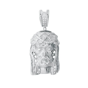 Sterling Silver Pave CZ Jesus Chirst Pendant