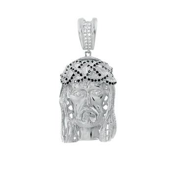 Sterling Silver Pave Black & White CZ Jesus Chirst Pendant