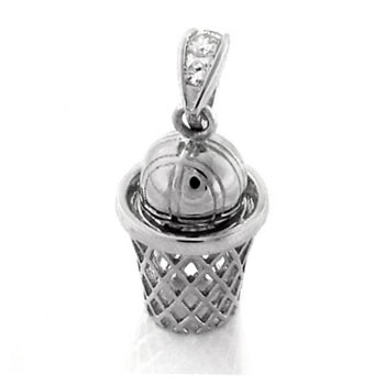 Basketball and Hoop Silver CZ HIP HOP Pendant
