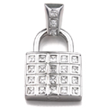 Sterling Silver Cubic Zirconia Padlock HIP HOP Pendant
