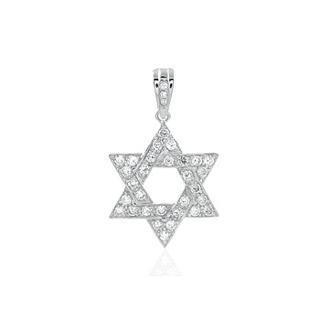 Sterling Silver Cubic Zirconia CZ Star of David Pendant