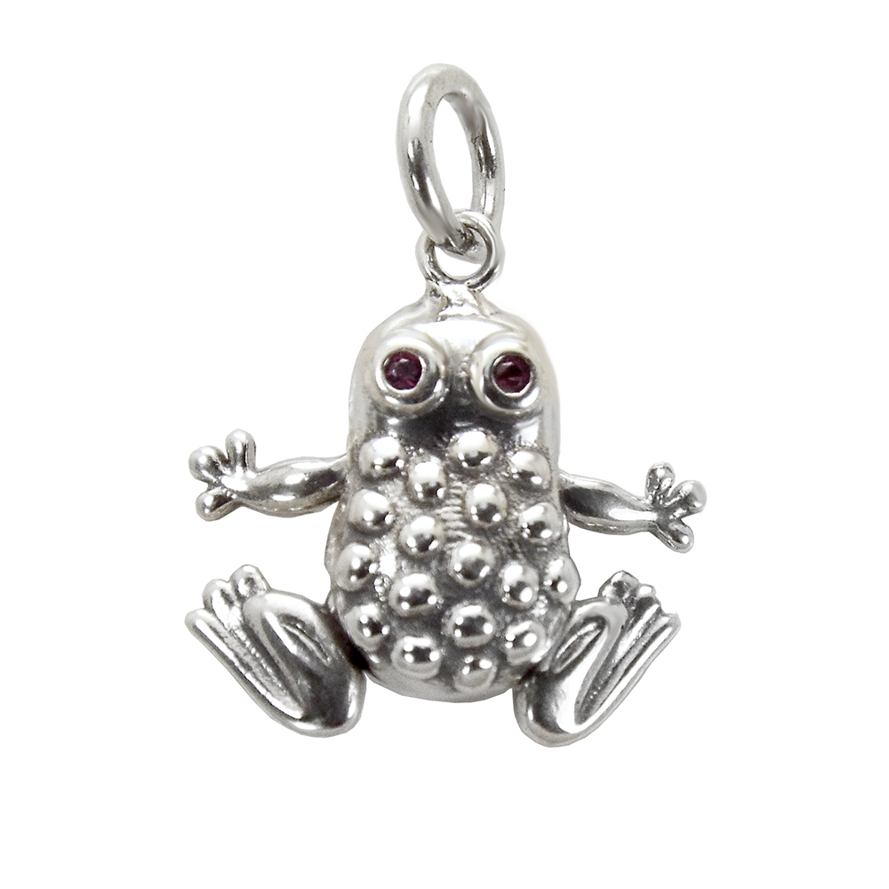 .925 Sterling Silver Oxidized Moveable Frog W. Red Eyes Pendant