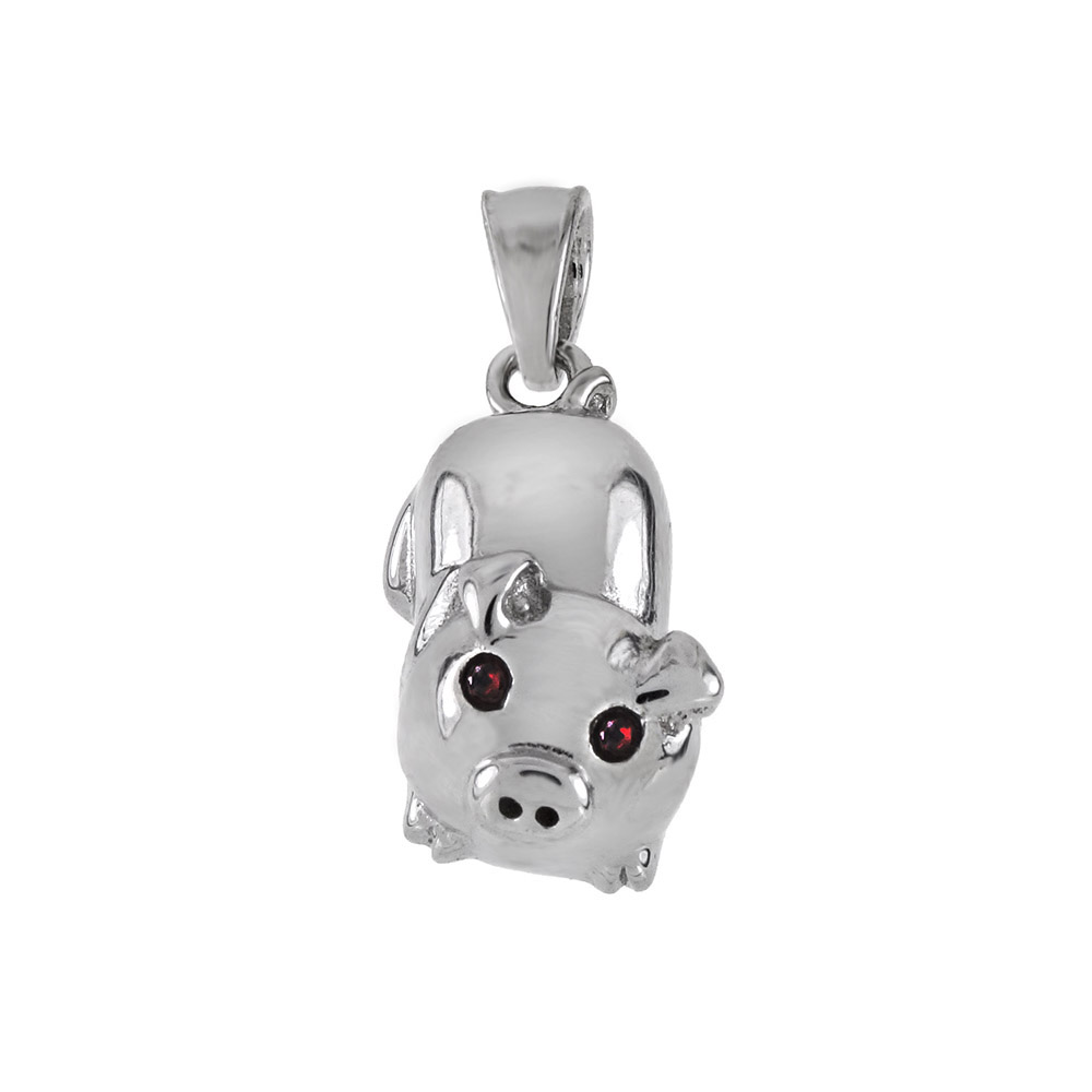 .925 Sterling Silver High Polished Lucky Little Piggy Pendant