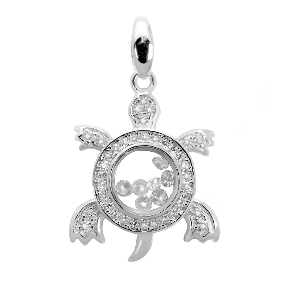 Sterling Silver Pave CZ Turtle Pendant