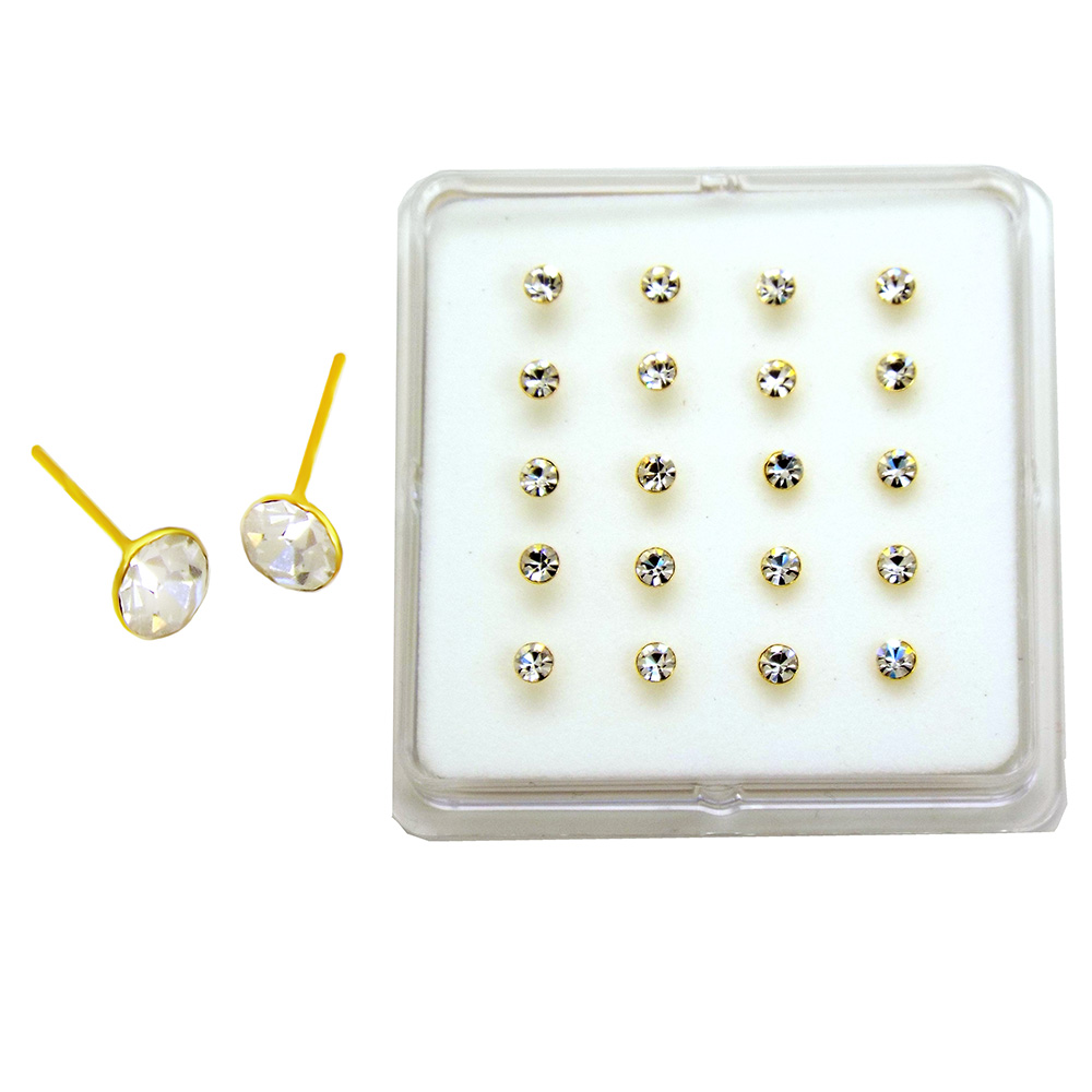 Sterling Silver 3mm Crystal Nose Stud Gold Plated Straight End