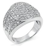 925 Silver Cubic Zirconia Micro Pave Setting CZ Man Ring