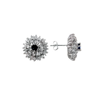 925 Silver Cubic Zirconia Blue & Clear Round CZ Earrings