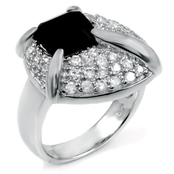 Black Onyx & Cubic Zirconia In Sterling Silver Cluster Ring