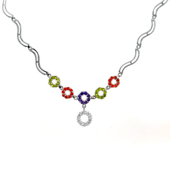 925 Silver Multi Color Round CZ Necklace