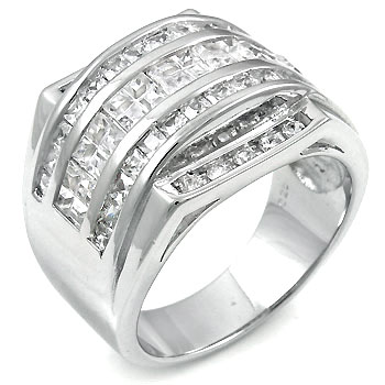 925 Silver Round & Square Invisible CZ Man Ring