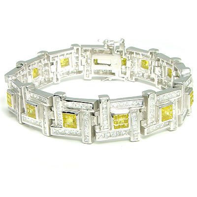 .925 SterlingSilver Invisible Yellow CZ Bracelet