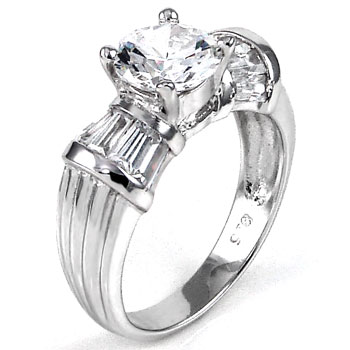 925 Sterling Silver 8MM Round & Baguett Cubic Zirconia CZ Ring